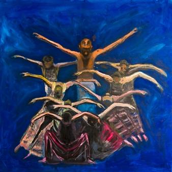 """Dance of Birds Oil on Canvas 39.5"""" x 39.5"""""""