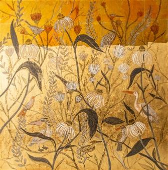 """The Garden Acrylic & Gold Leaf on Canvas 39.5"""" x 39.5"""""""