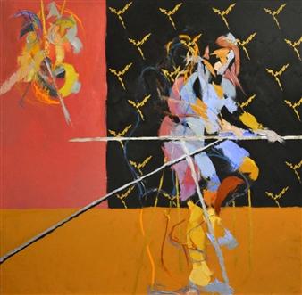 """Nada Es Lo Que Parece Oil on Canvas 47.5"""" x 47.5"""""""