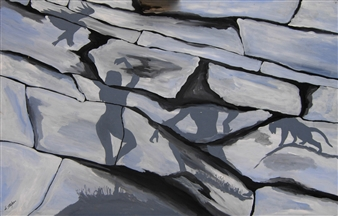 "Ombre 3  (Shadows 3) Acrylic on Wood 25.5"" x 39.5"""