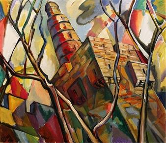 "Tower of David Acrylic on Canvas 23.6"" x 27.6"""