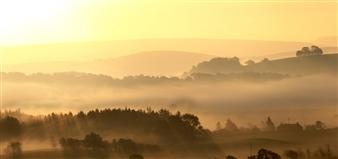 "Lake District Morning Mist Photographic Print on Aluminum Dibond 14"" x 30"""