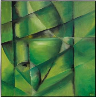 "Green Apple Oil on Canvas 37"" x 37"""