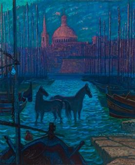 """Bathing Maltese Horse Oil on Canvas 47"""" x 39.5"""""""