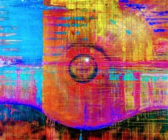"""CREATION THEORY: Orb in Creation Haze Acrylic & Spraypaint on Canvas 48"""" x 54"""""""