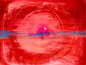 """CREATION THEORY: Birth of an IDEA Acrylic & Spraypaint on Canvas 60"""" x 50"""""""