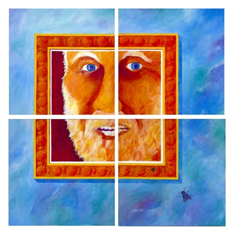 """Where Am I? <i> (composition of four 20x20"""" paintings)</i> Acrylic on Canvas 42"""" x 42"""""""