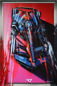 "14_Fernando Alonso at Virtual Track Digital Artwork Print on Canvas & Acrylic 68"" x 44.5"""