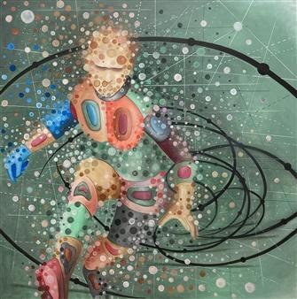 """Run Against the Time Acrylic on Canvas 39.5"""" x 39.5"""""""