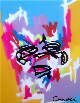 "Untitled 7 Acrylic, Marker & Spray Paint on Canvas 39.5"" x 31.5"""