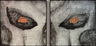 """Winter is Coming, diptych Mixed Media on Industrial Substrate 49.5"""" x 99"""""""