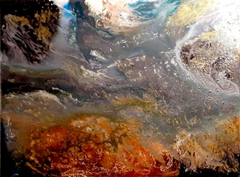 """Cognizant Clouds Oil, Acrylic, Gesso, Resin on Canvas 36"""" x 48"""""""