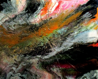 """Jupiter Storm Oil, Acrylic, Gesso, Resin on Canvas 48"""" x 60"""""""