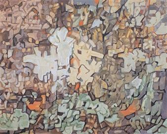"Knar Chorus Soil & Ceramic Paint Mixture on Canvas 28.5"" x 36"""