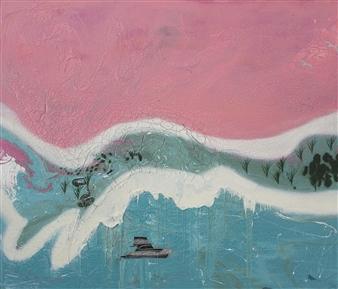 "Pink Salt Lake Oil & Acrylic on Canvas 72"" x 84"""
