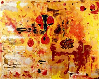 """Red Hole Sun Acrylic & Oil on Canvas 47"""" x 59"""" <span style='color:red;'>Sold</span>"""