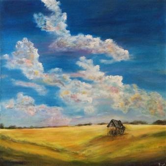 """Old House on the Prairies Acrylic on Canvas 40"""" x 40"""""""
