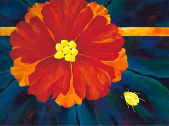 """Flower and Friend Acrylic on Canvas 30"""" x 40"""""""
