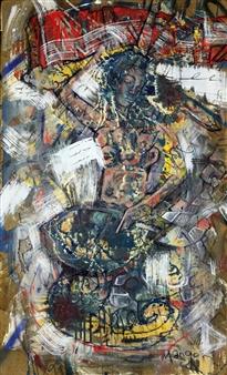 """Siren Acrylic & Oil on panel 39"""" x 23"""""""