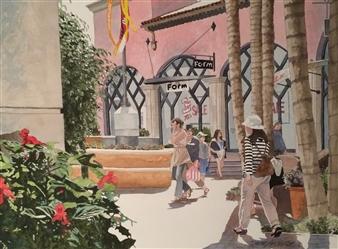"Le Cumbre Plaza Watercolor on Paper 18.5"" x 24.5"""