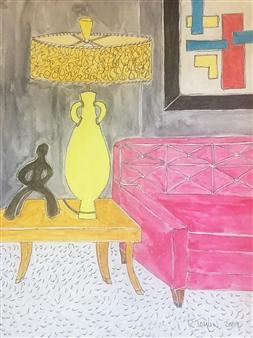 "Art Deco Vibrance Watercolor on Paper 14"" x 11"""