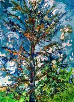 """Cedro del Líbano. Atlas Cedar. Acrylic on Canvas 31.5"""" x 24"""""""