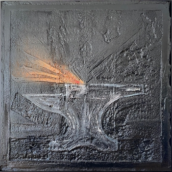 """Anvyl Mixed Media on Industrial Substrate 49.5"""" x 49.5"""""""