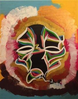 "Untitled 1 Acrylic & Spraypaint on Canvas 39.5"" x 31.5"""