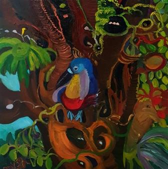 """The Bird Oil on Canvas 12.5"""" x 12.5"""""""