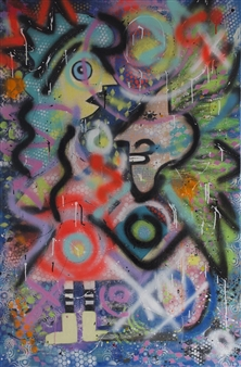 """Different Minds Acrylic & Spraypaint on Canvas 47"""" x 31.5"""""""