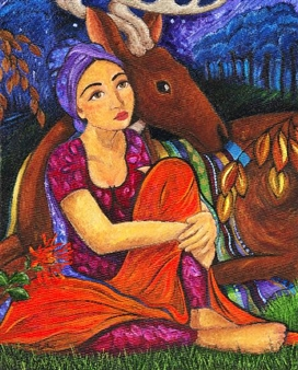 """Woman with Deer Acrylic on Canvas 30"""" x 36"""""""
