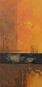 "Ochre Magic Acrylic, Collage & Mixed Media on Canvas 24"" x 12"""