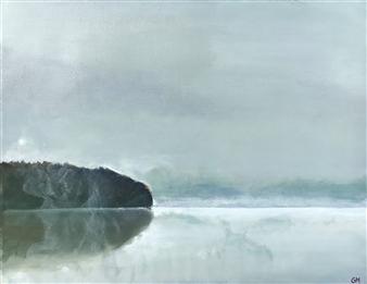 """Croton Reservoir Fog Acrylic on Canvas 14"""" x 18"""""""