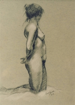 """Nude Charcoal on Paper 18"""" x 14"""""""
