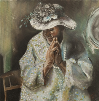 """A Prayer for New Orleans Pastel on Paper 19"""" x 19"""""""