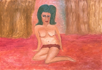 """Woman and the Curtain Oil on Canvas 23.5"""" x 31.5"""""""