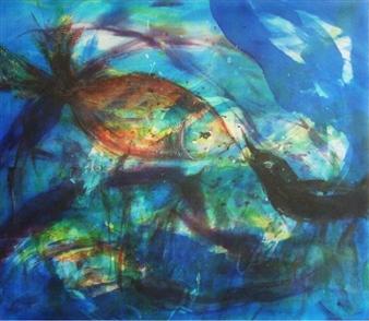 """Swimmy Silk on Canvas 31.5"""" x 27.5"""""""