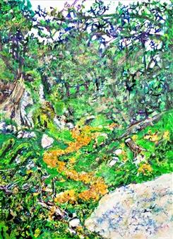 """Camino de Baldosas Amarillas III Mixed Media on Canvas 31.5"""" x 24"""""""
