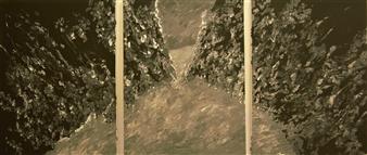 """Tropical Landscape Oil & Acrylic on Canvas 40.5"""" x 90"""""""