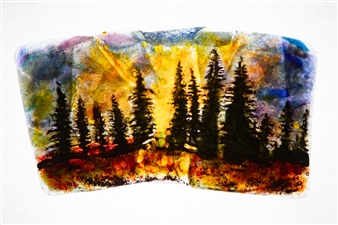 """Forest 7 Glass Painting 5"""" x 8.5"""""""