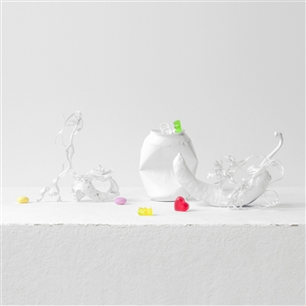 Still Life in White with Heart And Sweets / second variation