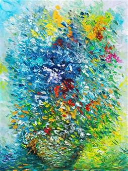 "Flowers Oil on Canvas 23.5"" x 16"""