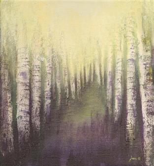"""Bouleaux au Printemps Acrylic on Canvas 17.5"""" x 17.5"""""""