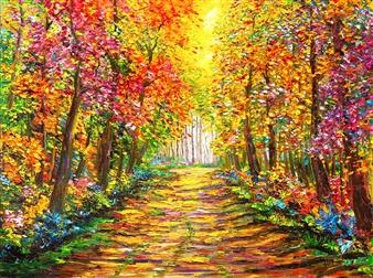 "Autumn Landscape Oil on Canvas 23.5"" x 31.5"""