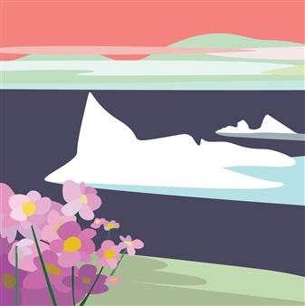 "Evening Scene Near Natortalik, South Greenland Digital Print on Paper 18"" x 18"""