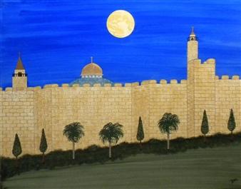 """Jerusalem Moonrise Watercolor on Board 19"""" x 23"""""""