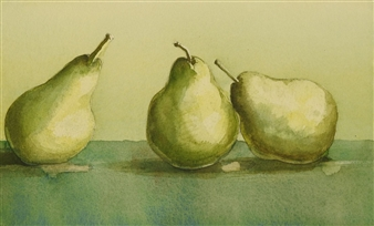 Three Pears in Watercolor