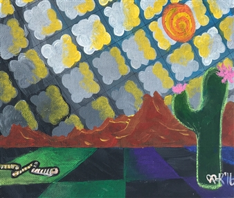 "Desert Thundercoulds Acrylic & Oil Pastel on Canvas 9.5"" x 11.5"""