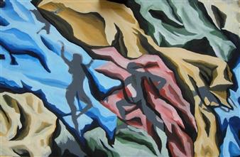"Ombre 2  (Shadows 2) Acrylic on Wood 25.5"" x 39.5"""