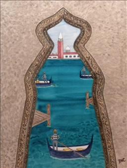 "Venice Lagoon Watercolor on Board 16"" x 12"""